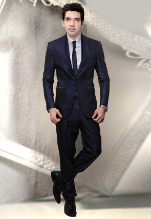 Plain Terry Rayon Tuxedo in Navy Blue