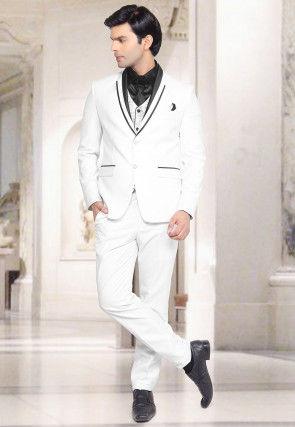 Plain Terry Rayon Tuxedo in Off White