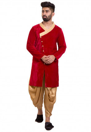 Plain Velvet Angrakha Style Sherwani in Red