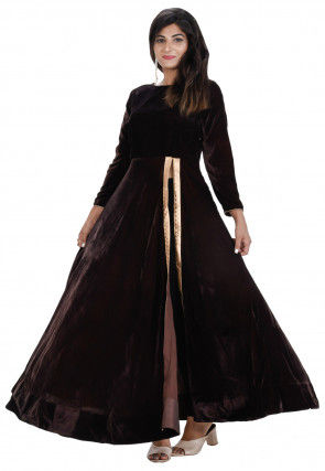 Plain Velvet Front Slit Long Kurta in Dark Brown