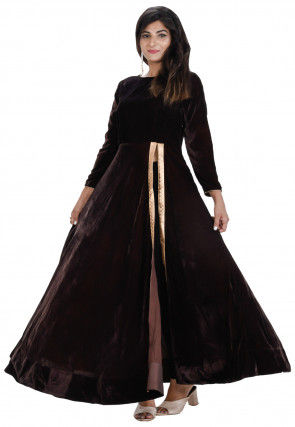 Plain Velvet Front Slit Long Kurta Set in Dark Brown