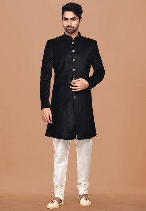 Plain Velvet Sherwani in Black