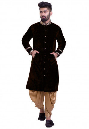 Plain Velvet Sherwani in Dark Brown