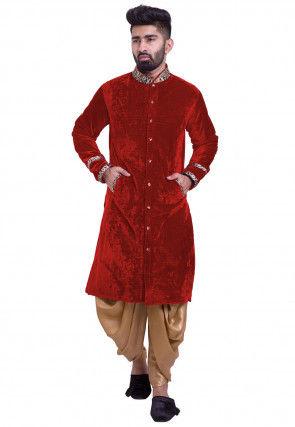Plain Velvet Sherwani in Red