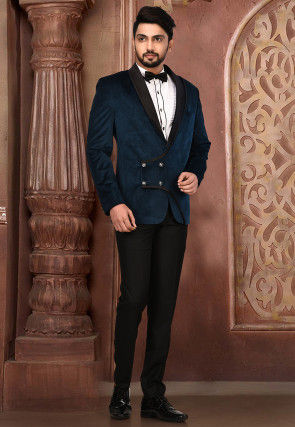 Plain Velvet Tuxedo in Navy Blue