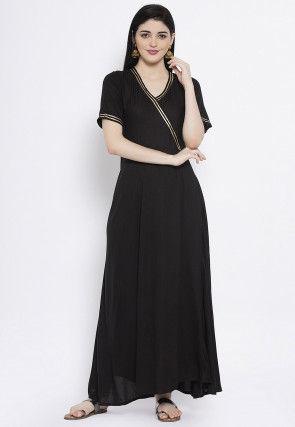 Plain Viscose Maxi Dress in Black
