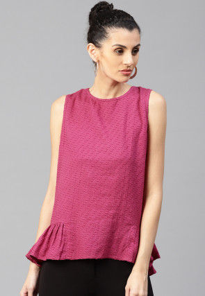 Plain Viscose Peplum Top in Maroon