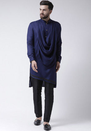 Plain Viscose Rayon Cowl Style Kurta Set in Navy Blue