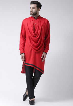 Plain Viscose Rayon Cowl Style Kurta Set in Red