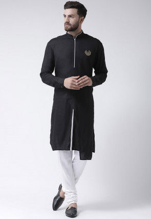 Plain Viscose Rayon High Low Kurta Set in Black