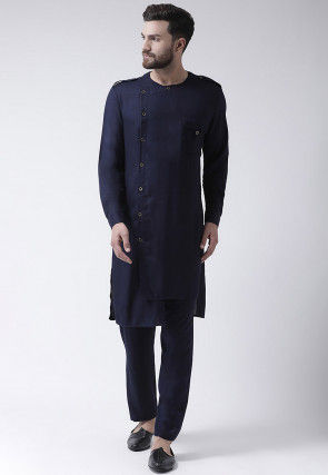Plain Viscose Rayon High Low Kurta Set in Navy Blue