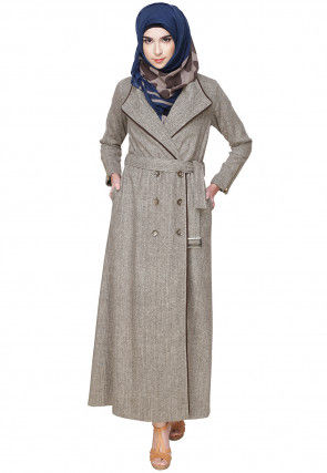 Plain Wool Front Open Coat Style Abaya in Light Grey