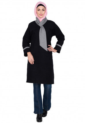 Plain Woolen Tunic in Black