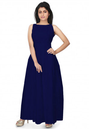 Pleated Chanderi Silk Dress in Dark Blue
