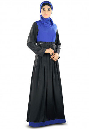 Pleated Crepe Abaya with Hijab in Black and Blue