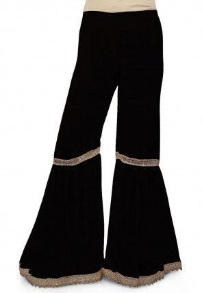 Pleated Georgette Sharara in Black
