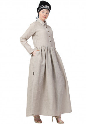 Pleated Solid Color Linen Pleated Abaya in Off White
