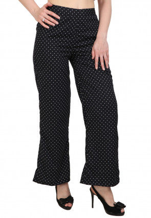 Polka Dot Printed Crepe Culottes in Black