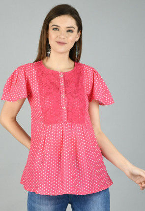 Polka Dotted Cotton Top in Pink