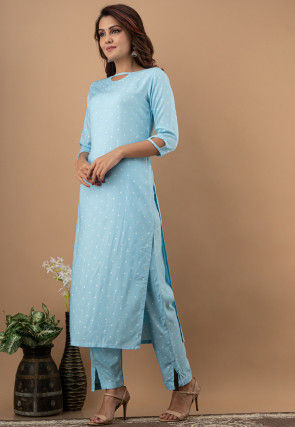 Polka Dotted Rayon Kurta with Pant in Sky Blue