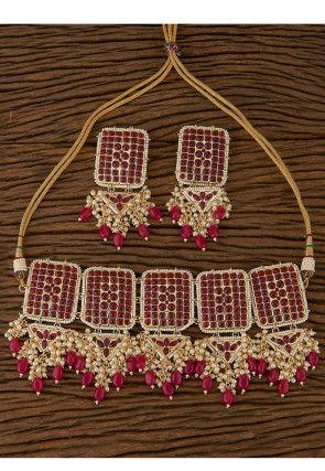 Polki Studded Choker Necklace Set