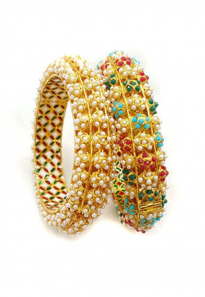Polki Studded Pair of Openable Bangles