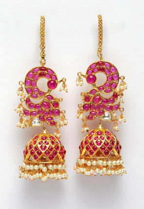 Polki Studded Peacock Jhumka Style Earrings with Ear Chain