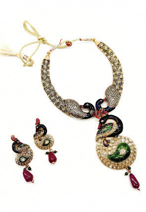 Polki Studded Peacock Style Choker Necklace Set