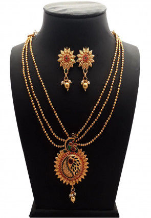 Polki Studded Peacock Style Necklace Set