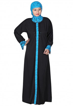 Polyester Abaya with Hijab in Black and Blue