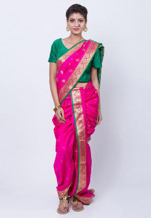 Pre-stitched Art Silk Saree in Fuchsia