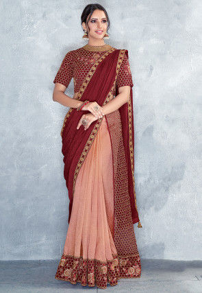 Pre-stitched Art Silk Saree in Maroon and Peach