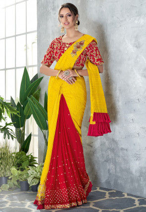 Pre-stitched Art Silk Corsaged Saree in Yellow and Red