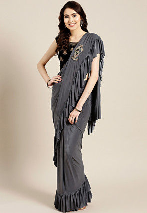 Pre-stitched Corsaged Lycra Saree in Grey