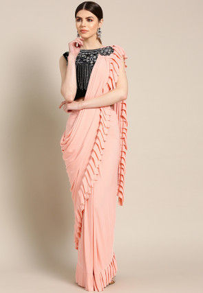 Pre-stitched Corsaged Lycra Saree in Peach