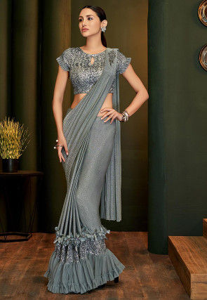 Pre-stitched Frilled Lycra Shimmer Saree in Grey