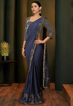 Pre-stitched Lycra and Net Saree in Navy Blue