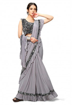 Pre-stitched Lycra Corsaged Pallu Ruffled Saree in Grey
