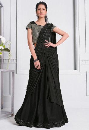 Pre-stitched Lycra Corsaged Pallu Saree in Black