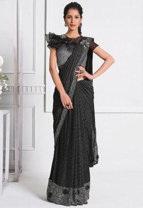 Pre-stitched Lycra Corsaged Pallu Saree in Dark Grey