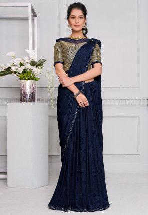Pre-stitched Lycra Corsaged Pallu Saree in Navy Blue