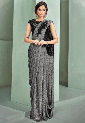 Pre-Stitched Lycra Corsaged Saree in Grey