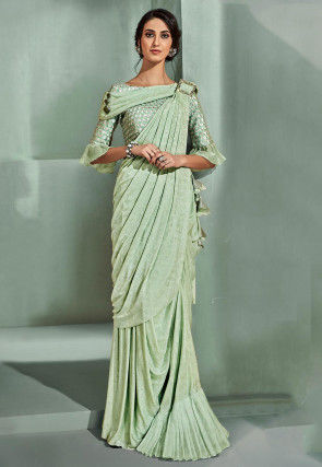 Pre-Stitched Lycra Corsaged Saree in Pastel Green