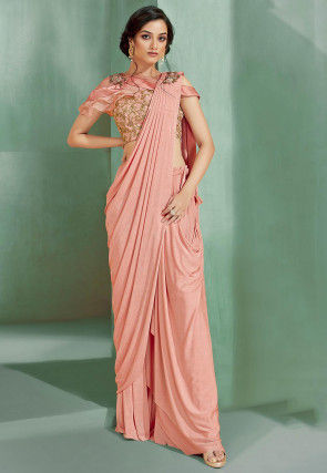 Pre-Stitched Lycra Corsaged Saree in Peach