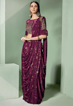 Pre-Stitched Lycra Corsaged Saree in Wine