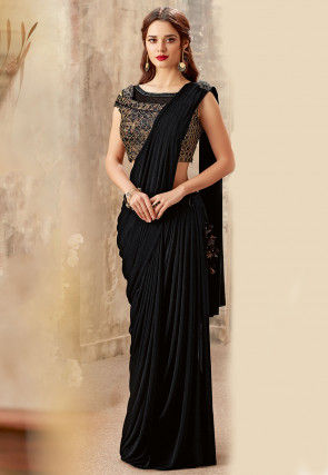 Pre-stitched Lycra Cowl Style Saree in Black