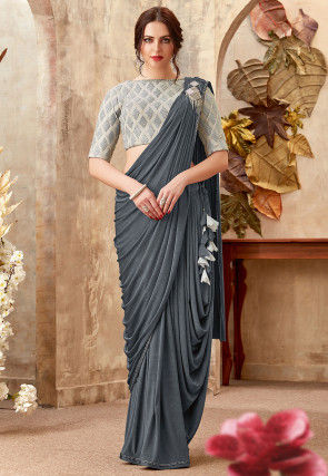 Pre-stitched Lycra Cowl Style Saree in Dark Grey