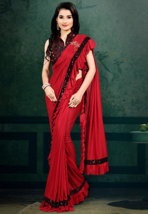 Pre-stitched Lycra Ruffled Corsaged Pallu Saree in Red