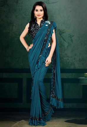 Pre-stitched Lycra Ruffled Corsaged Pallu Saree in Teal Blue