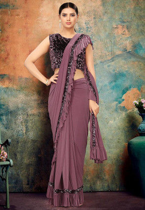 Pre-stitched Lycra Ruffled Saree in Dusty Purple